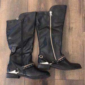 Black Knee High Boots - Gold Details